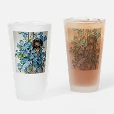 Dachshund and Forget-Me-Nots Drinking Glass