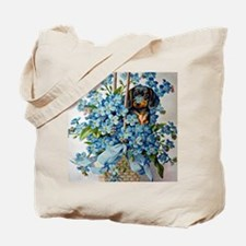 Dachshund and Forget-Me-Nots Tote Bag