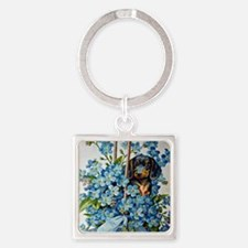 Dachshund and Forget-Me-Nots Keychains