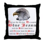 Biker Blue Jeans Eagle Prayer Throw Pillow