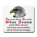 Biker Blue Jeans Eagle Prayer Mousepad