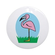 Cute Cartoon Flamingo Ornament (Round)