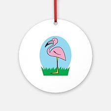 Cute Cartoon Flamingo Ornament (Round)