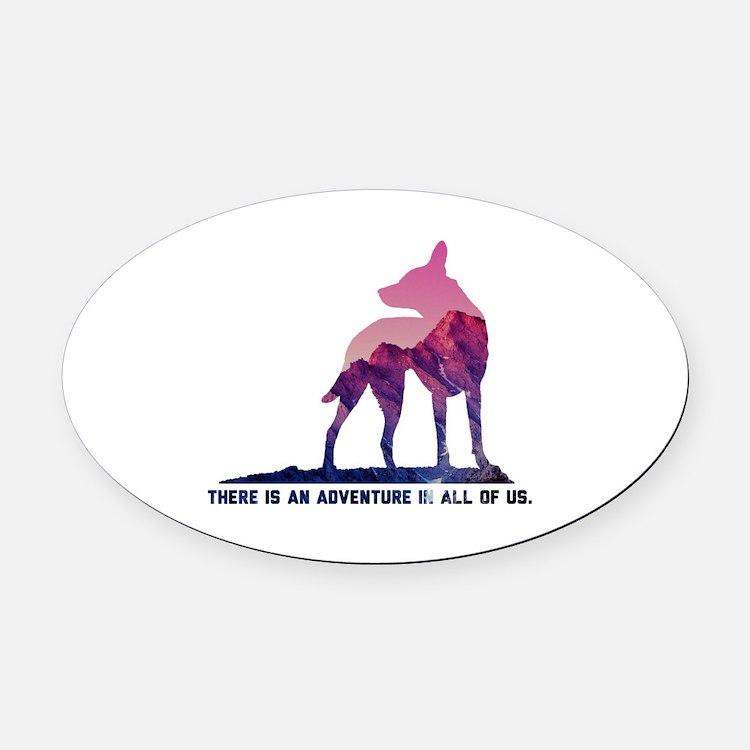 Cute Hiking dog Oval Car Magnet