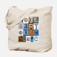 Hail Mary Full of Grace Letters Tote Bag