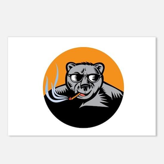 Black Bear Sunglasses Cigar Circle Woodcut Postcar