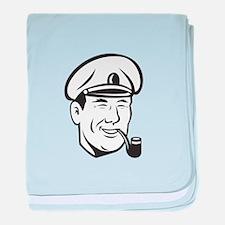 Sea Captain Smiling Smoke Pipe Retro baby blanket