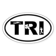 Triathlon Triathletes Oval Decal