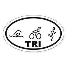 TRI Swim Bike Run Oval Decal