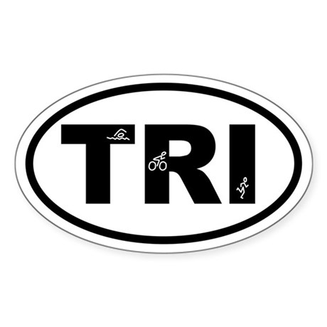 Triathlon Swimmer Biker Runner Oval Sticker