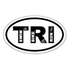 Triathlon Swim Bike Run Oval Decal