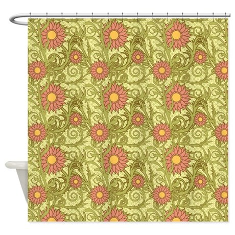 pink and green sunflowers shower curtain by admin cp37802842