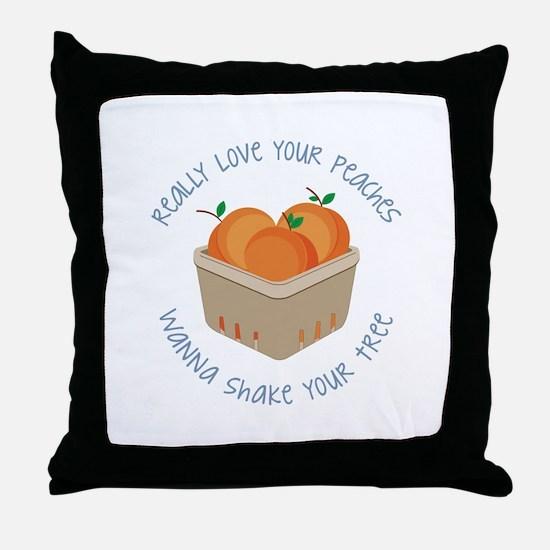 Love Peaches Throw Pillow