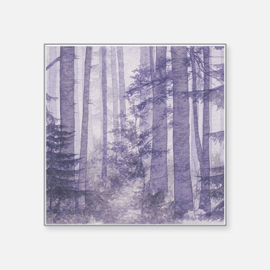"Purple Misty Forest Square Sticker 3"" x 3"""