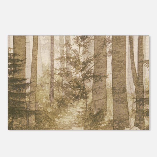 Brown Misty Forest Postcards (Package of 8)