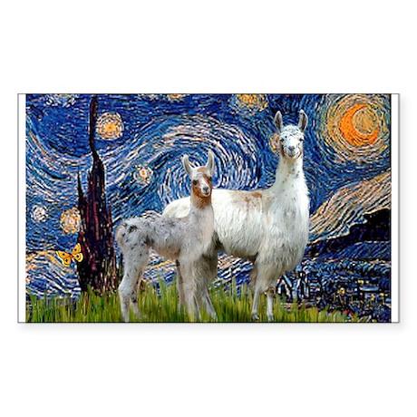 Starry Night Llama Duo Rectangle Sticker