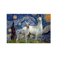 Starry Night Llama Duo Rectangle Magnet