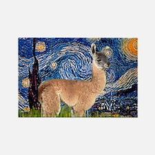 Starry Night Llama Rectangle Magnet