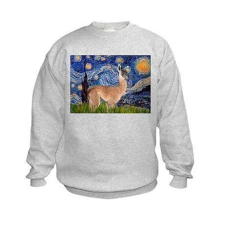 Starry Night Llama Kids Sweatshirt