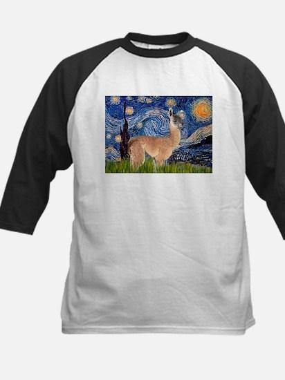 Starry Night Llama Kids Baseball Jersey