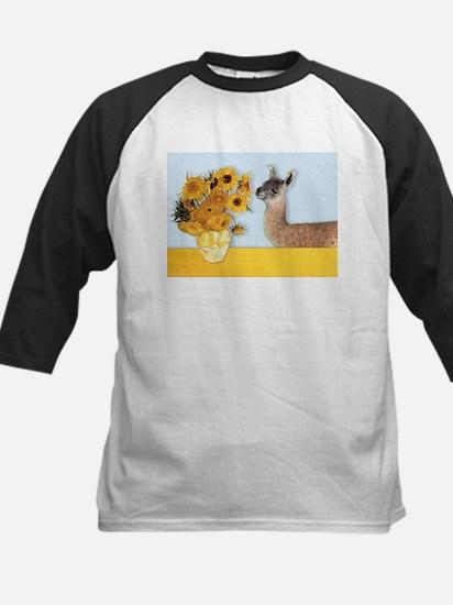 Sunflowers & Llama Kids Baseball Jersey