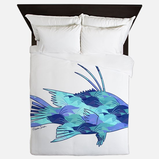 Blue Camouflage Hogfish Queen Duvet