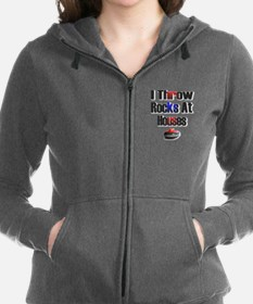 Cute Curling Women's Zip Hoodie
