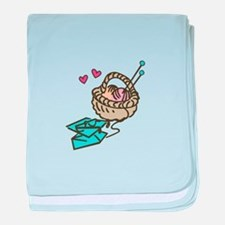 Knitting Basket baby blanket
