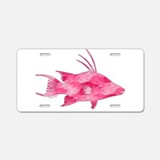 Pink Camouflage Hogfish Aluminum License Plate