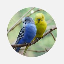 Budgie Love Round Ornament