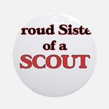 Proud Sister of a Scout Round Ornament