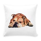 English bulldog Burlap Pillows