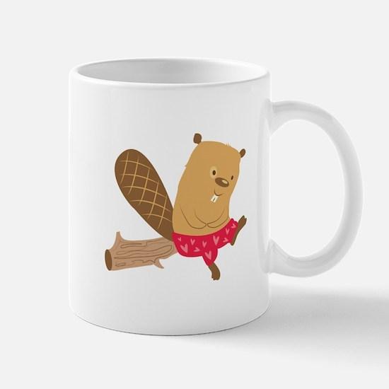 Beaver On Log Mugs