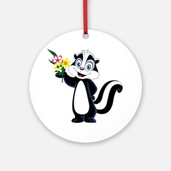 Cute Skunk Round Ornament