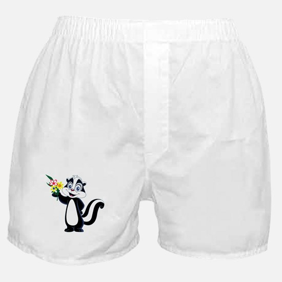 Friendle Skunk with Flower Bouquet Boxer Shorts