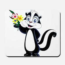 Friendle Skunk with Flower Bouquet Mousepad