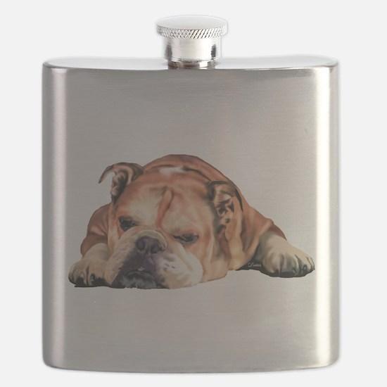 English Bulldog Art Portrait Flask
