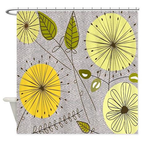 midcentury dandelion clocks shower curtain