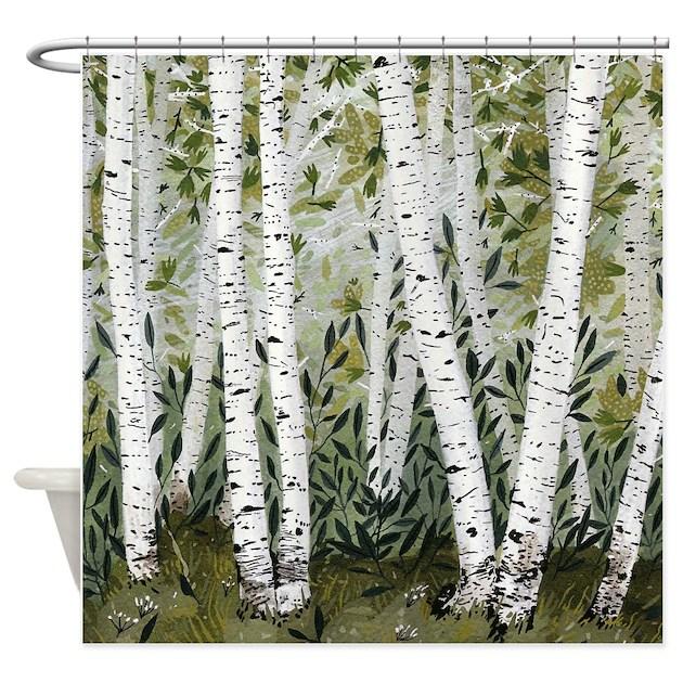 Birch trees shower curtain by crowsscorner