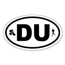Duathlon Biker Runner Oval Decal