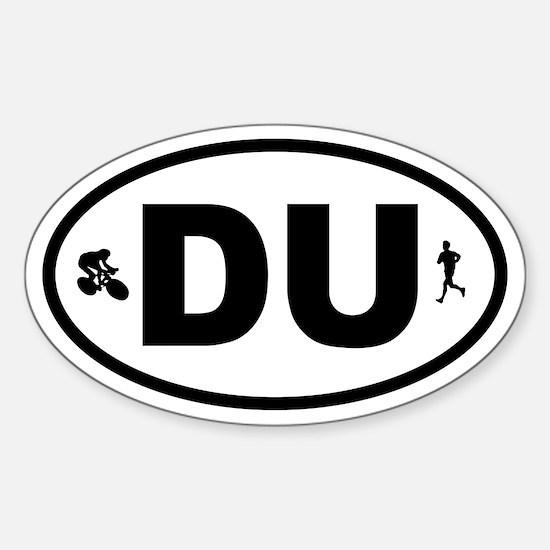 Duathlon Biker Runner Oval Decal