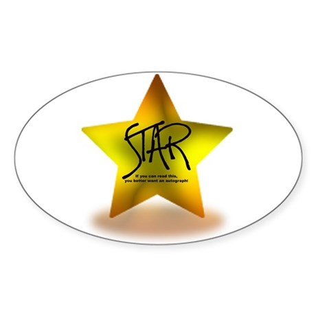 Star Autograph Oval Sticker