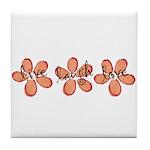 live, laugh, love flowers (orange) Tile Coaster
