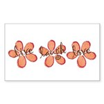 live, laugh, love flowers (orange) Sticker (Rectan