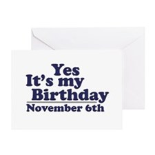 November 6th Birthday Greeting Card
