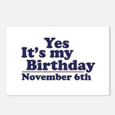 November 6th Birthday Postcards (Package of 8)