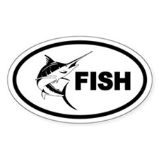 Deep Sea Fishing Swordfish Oval Decal