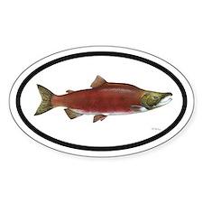 Sockeye Salmon Fishing Oval Decal