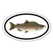 Pink Salmon Fishing Oval Decal