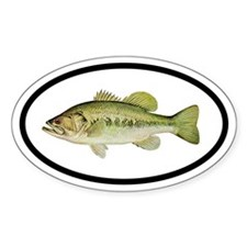 Largemouth Bass Fishing Oval Decal